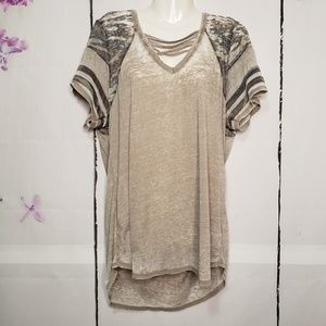 Derek Heart Camo Accent Semi Sheer T-Shirt 2X